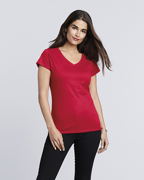 109.09 Ladies Softstyle V-Neck T-Shirt 64V00L Gildan Bedrukken PASPRINT